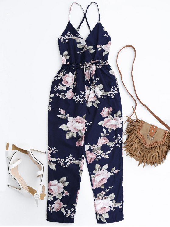 Slip Floral Surplice Jumpsuit With Tie Belt - COLORMIX S Mobile