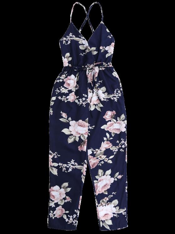 Slip Floral Surplice Jumpsuit With Tie Belt - COLORMIX XL Mobile