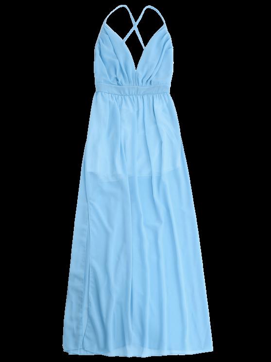 Plunge Open Back Slit Chiffon Dress - SKY BLUE M Mobile