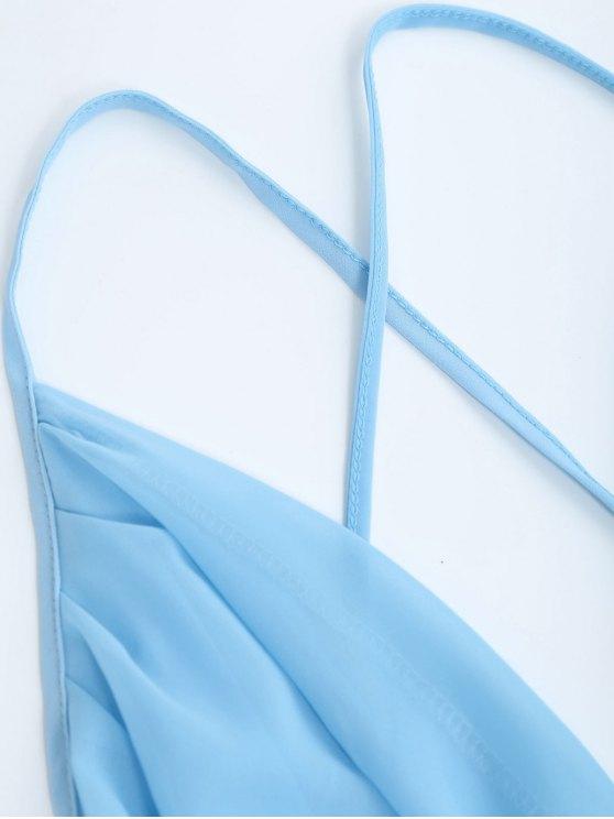 Plunge Open Back Slit Chiffon Dress - SKY BLUE L Mobile