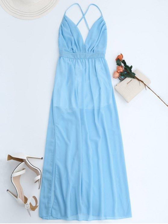 hot Plunge Open Back Slit Chiffon Dress - SKY BLUE L