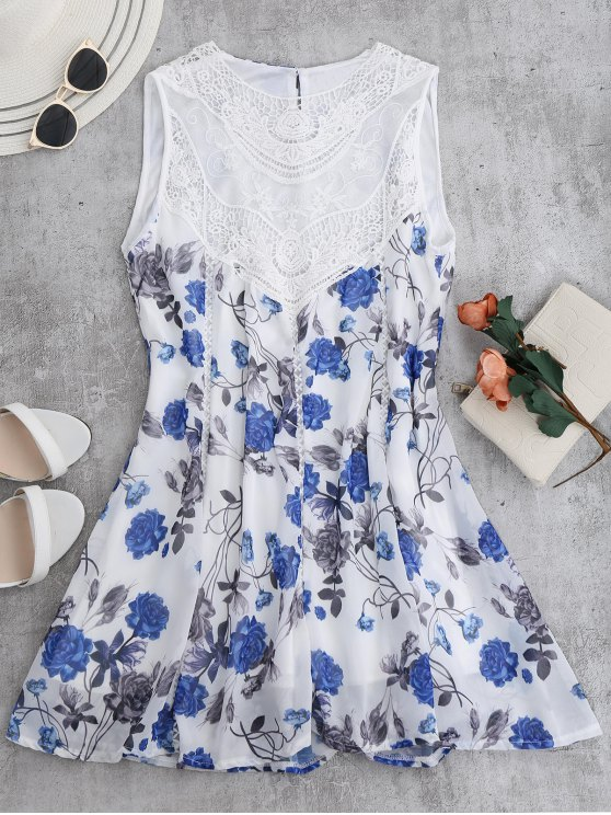 Sleeveless Floral Lace Panel Chiffon Dress - WHITE S Mobile