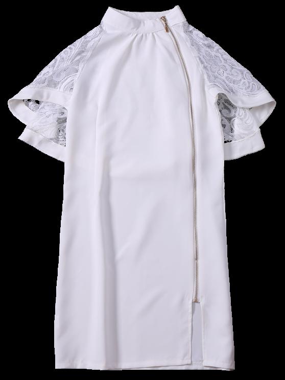 Zip Up Lace Cape Bodycon Dress - WHITE M Mobile