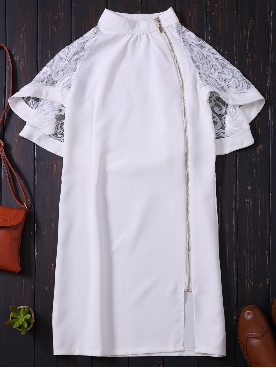 lady Zip Up Lace Cape Bodycon Dress - WHITE M