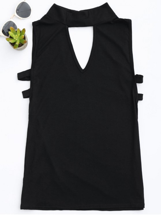 unique Stand Collar Armhole Cut Out Tank Top - BLACK M