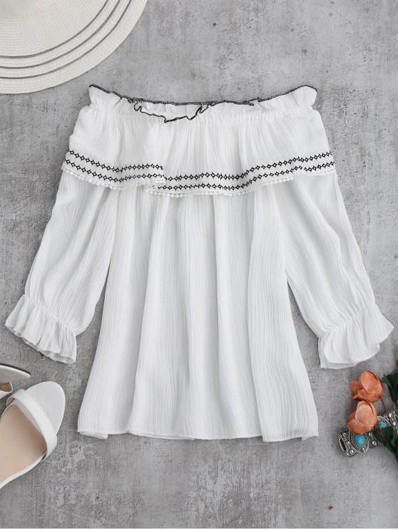 latest Off The Shoulder Ruffle Embroidered Blouse - WHITE ONE SIZE