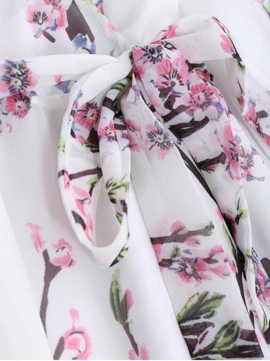 Floral Surplice Chiffon Flowy Dress - WHITE M Mobile