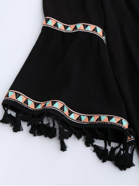 Off Shoulder Flare Sleeve Tassel Blouse - BLACK ONE SIZE Mobile