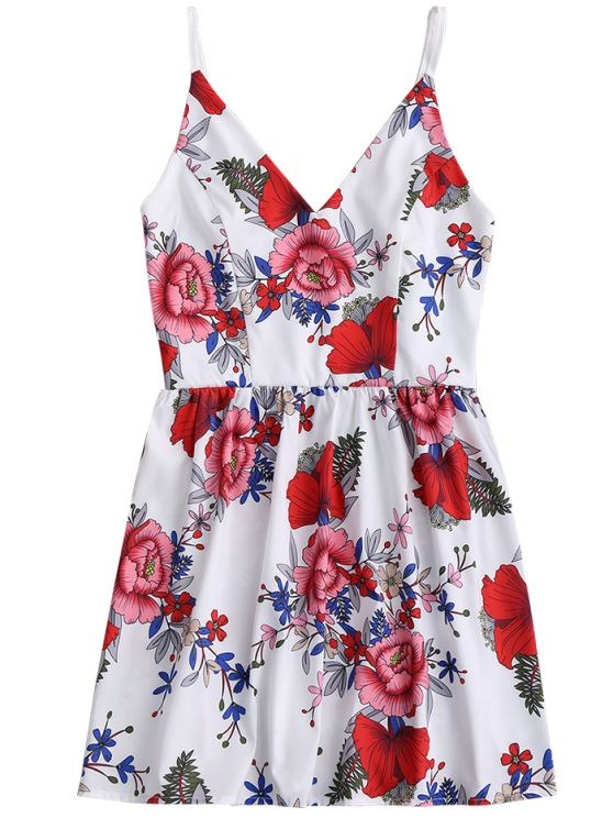 Floral Print Mini Cami Sundress - WHITE XL Mobile
