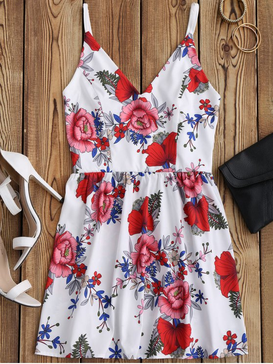 outfit Floral Print Mini Cami Sundress - WHITE M