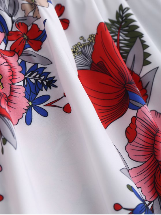 Floral Print Mini Cami Sundress - WHITE S Mobile