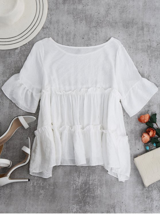 Ruffles Smock Blouse - WHITE ONE SIZE Mobile