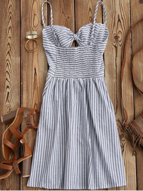 Striped Front Knot Cutout Cami Dress - STRIPE L Mobile