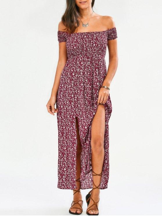 affordable Tiny Floral Off The Shoulder Slit Dress - FLORAL M