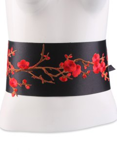 Flowers Branch Embroidered Chinoiserie Fabric Corset Belt - Bright Red