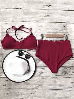 Halter Scalloped High Waisted Bikini Set - Burgundy L