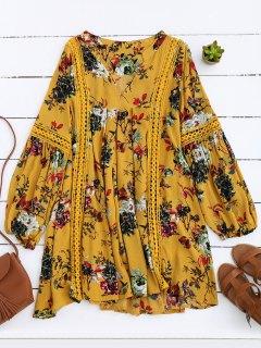 Robe Tunique Et Imprimée Des Fleurs  à Manches Lanterne - Jaune M