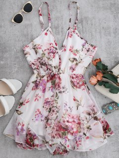 Cami Floral Chiffon Holiday Romper - White M