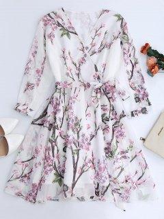 Floral Surplice Chiffon Flowy Dress - White S