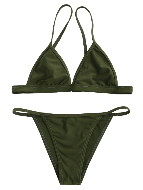 lady Tiny Unlined String Bikini Swimwear - ARMY GREEN M Mobile