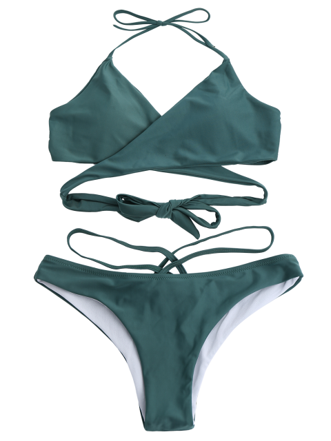 outfit Double Side Crossover Bikini Swimwear - BLACKISH GREEN M Mobile