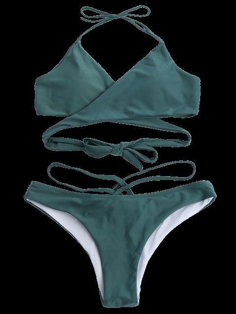 outfits Double Side Crossover Bikini Swimwear - BLACKISH GREEN S Mobile