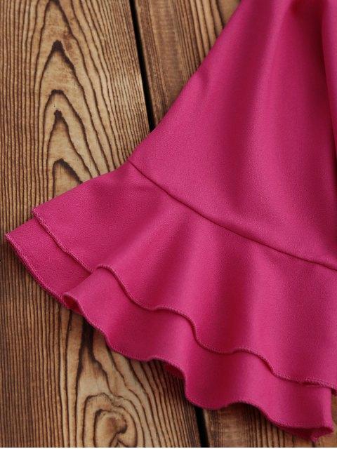fashion Frilled Sleeve Mini Shift Dress - ROSE MADDER XL Mobile