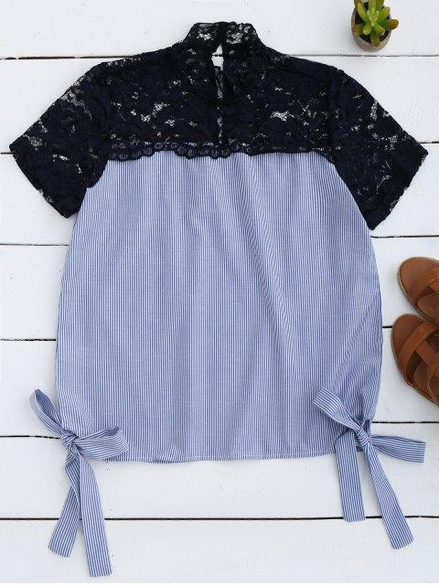 fashion Stripes Lace Panel Top - LIGHT BLUE S Mobile