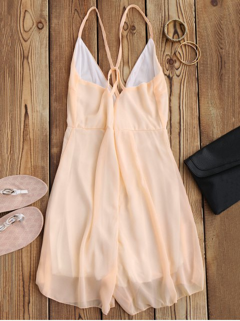 shops Crossover Cami Chiffon Beach Romper - PINK S Mobile