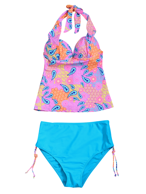 women High Waisted Paisley Runched Tankini - LAKE BLUE S Mobile
