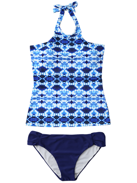 women's Halter Tie-Dyed Padded Tankini Set - PURPLISH BLUE S Mobile