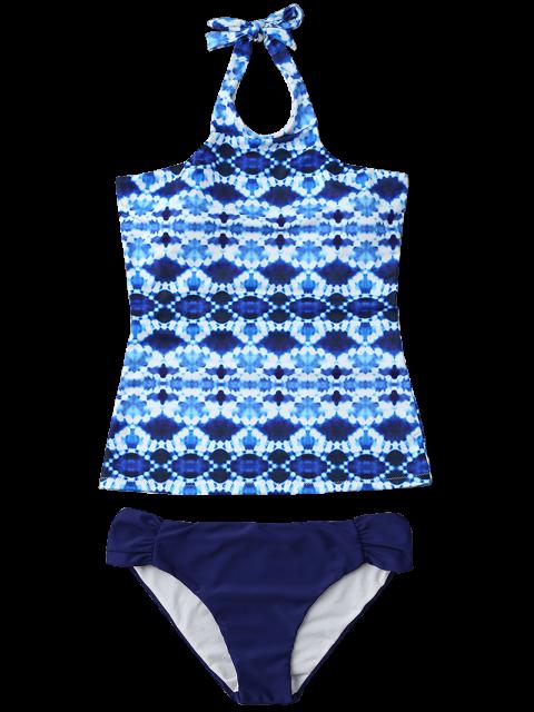 best Halter Tie-Dyed Padded Tankini Set - PURPLISH BLUE XL Mobile