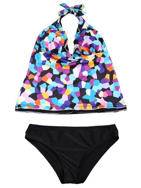online Halter Colorful Geometric Print Tankini Set - BLACK S Mobile
