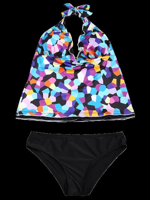 new Halter Colorful Geometric Print Tankini Set - BLACK M Mobile