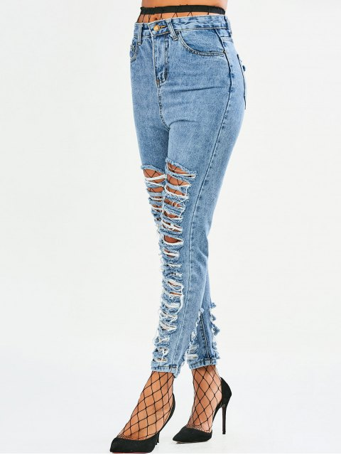 latest Tapered Distressed Jeans - DENIM BLUE XL Mobile