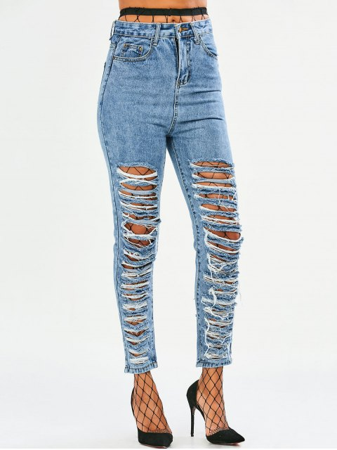 trendy Tapered Distressed Jeans - DENIM BLUE L Mobile