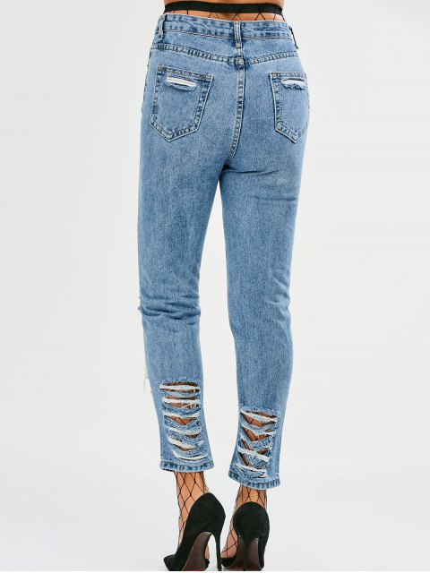 fashion Tapered Distressed Jeans - DENIM BLUE M Mobile