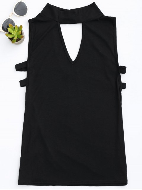 fancy Stand Collar Armhole Cut Out Tank Top - BLACK S Mobile