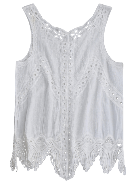 buy Holoow Out Linen Asymmetric Tank Top - WHITE ONE SIZE Mobile