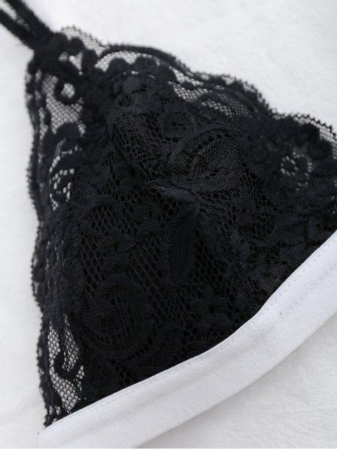 shop Lace Color Block Bra - BLACK M Mobile