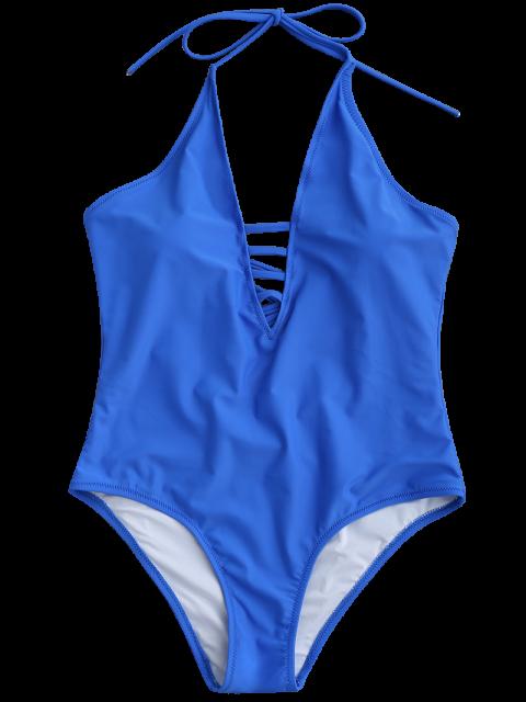 online Strappy Halter One Piece Swimwear - BLUE S Mobile