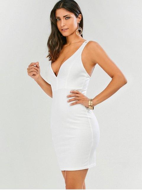 unique Plunge Strappy Bodycon Dress - WHITE S Mobile