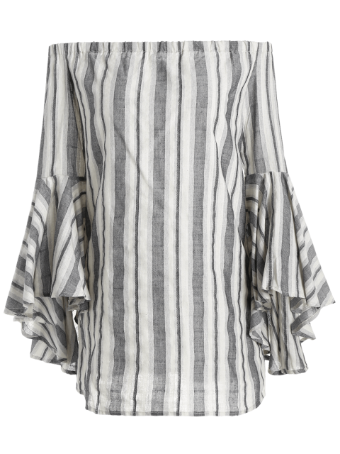 lady Stripes Off The Shoulder Tunic Dress - STRIPE M Mobile