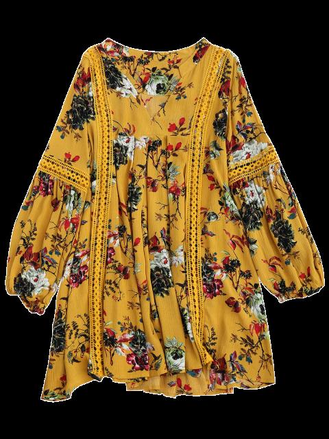 shop Cut Out Floral Tunic Dress - YELLOW M Mobile