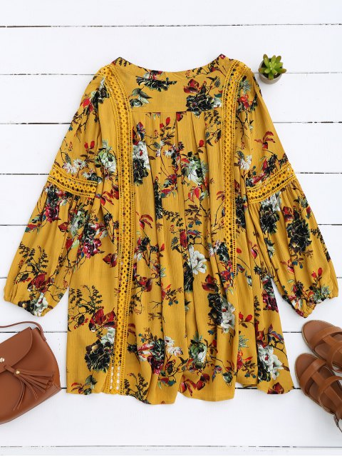 shops Cut Out Floral Tunic Dress - YELLOW S Mobile
