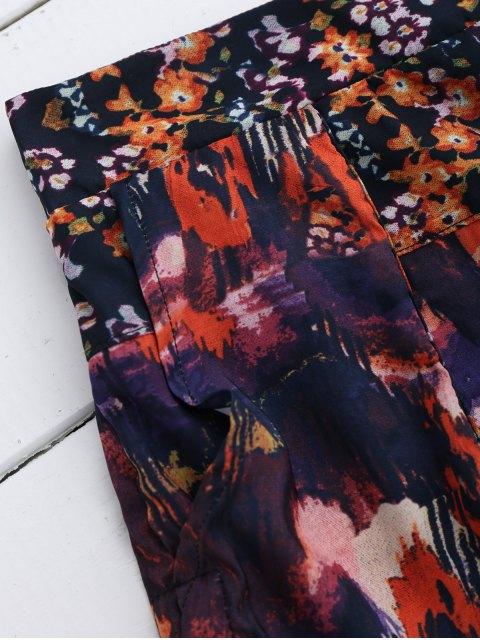 outfits Elastic Waist Floral Shorts - FLORAL M Mobile