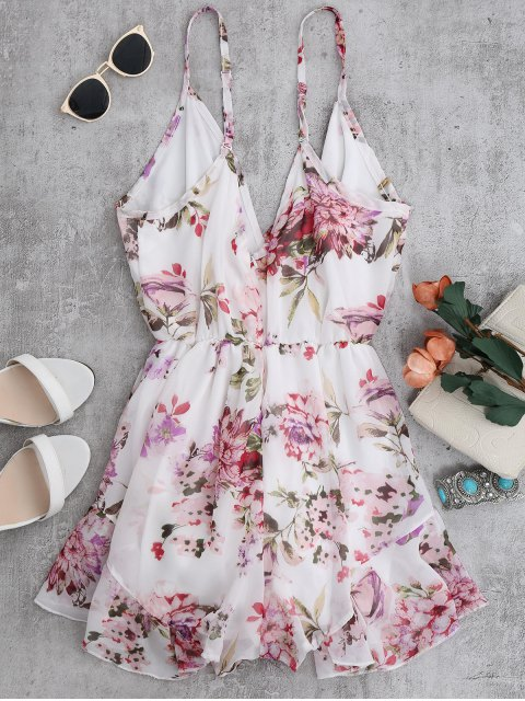 womens Cami Floral Chiffon Holiday Romper - WHITE XL Mobile