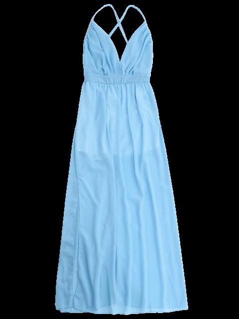 online Plunge Open Back Slit Chiffon Dress - SKY BLUE S Mobile