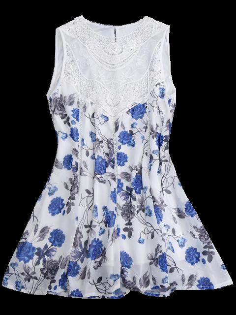 fashion Sleeveless Floral Lace Panel Chiffon Dress - WHITE S Mobile