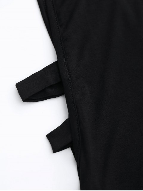 unique Stand Collar Armhole Cut Out Tank Top - BLACK M Mobile